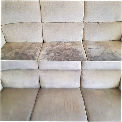 Steam cleaning a sofa in Warrington